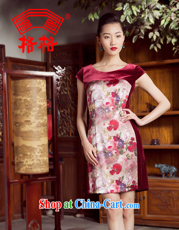 Huan Zhu Ge Ge 2014 spring and summer new wool stitching round-collar sauna Silk Cheongsam dress female wine red 4 XL