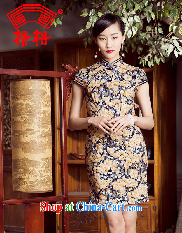 Huan Zhu Ge Ge 2014 spring and summer new bilateral, the Chinese style short cheongsam dress girls dark blue 3XL