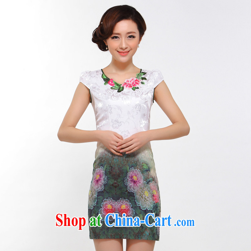 Dresses summer fashion 2014 new improved sexy beauty retro take high sense of cheongsam dress green L