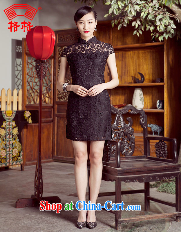 Princess spring and summer new improved sexy lace short cheongsam dresses black 4XL