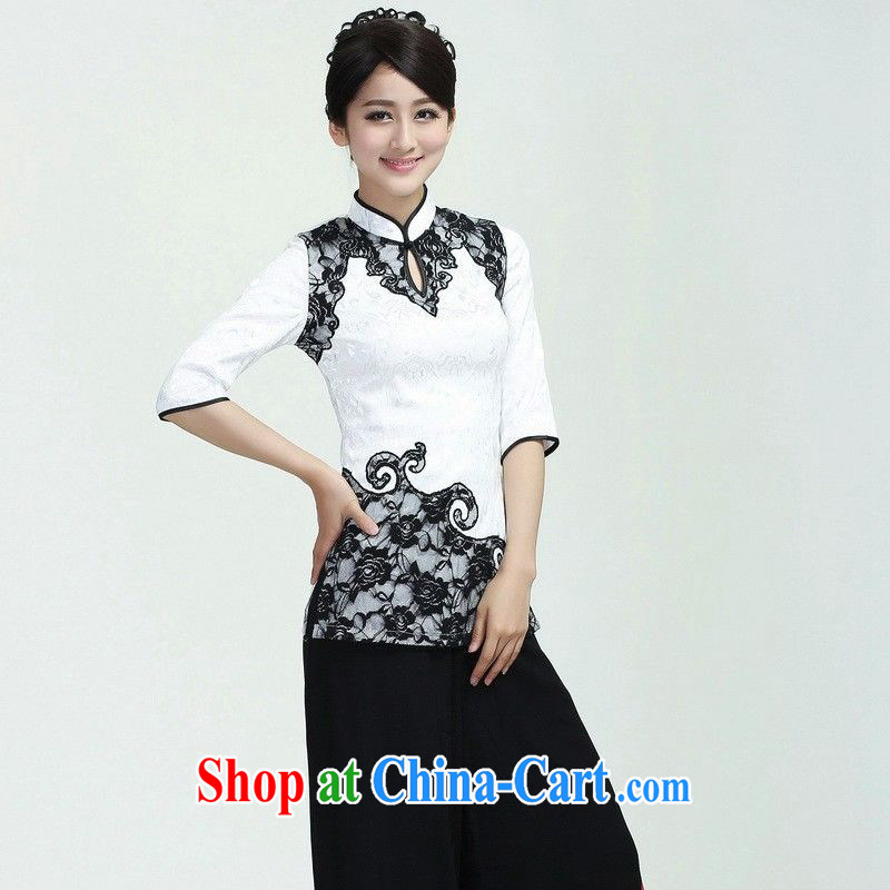 Allow Ms. Jing Tang Women's clothes summer T-shirt and collar lace Chinese Han-female improved Tang in 2371 cuff white 2XL _recommendations 130 - 140 jack_
