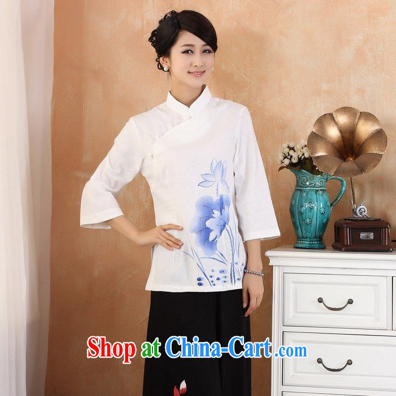 Allow Ms. Jing Tang Women's clothes summer T-shirt, cotton for the hand-painted Chinese Han-female improvement cuff in 2379 - 2 white 3XL (150 - 160 ) jack