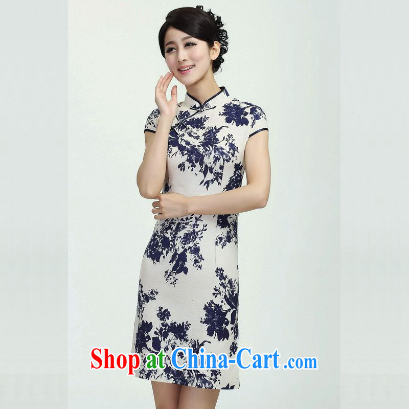 Jing An outfit summer improved retro dresses, linen for hand-painted Chinese improved cheongsam dress, long, 2368 - 3 with the Shannon L _110 - 115 _ jack