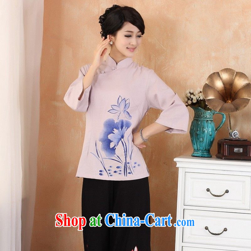 Floor is still building 2014 new summer maximum code Chinese female, for Chinese wind cotton Ma hand-painted breathable cool cuff in Chinese qipao T-shirt - 3 purple 3 XL