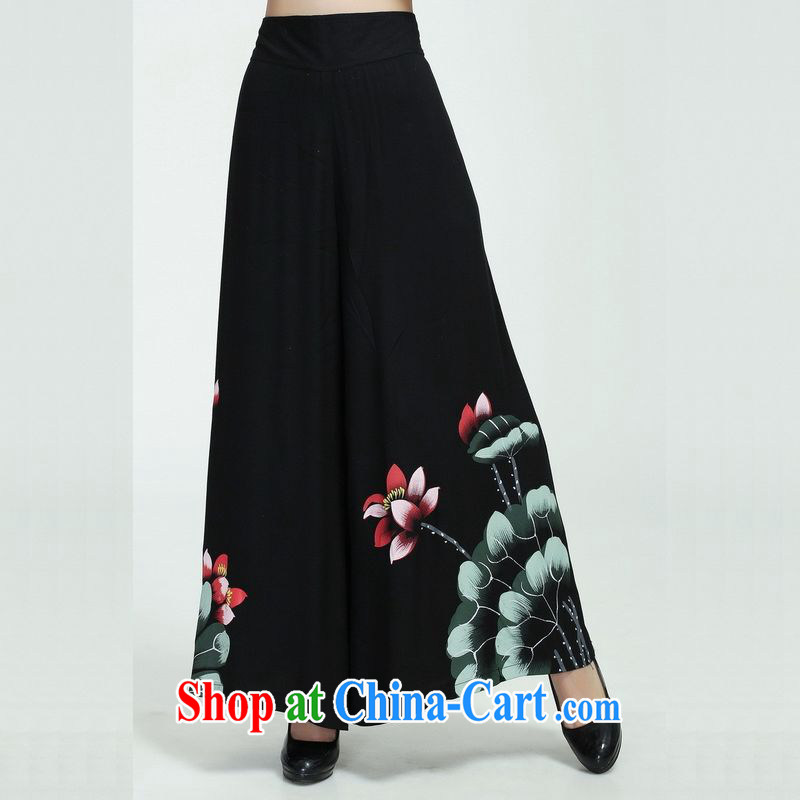 Floor is still building new spring and summer, the female stamp duty and comfortable 100 ground units the commission Wide Leg pants and skirts pants pants short pants - 1 black 2 XL