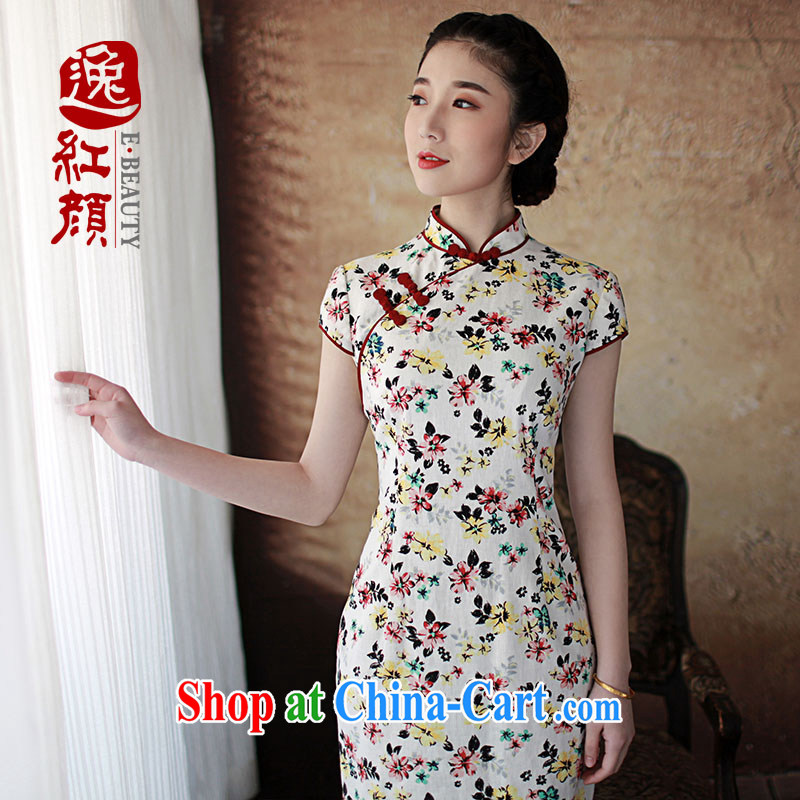 The proverbial hero once and for all -- Summer, Cheong Wa Dae cheongsam improved stylish summer new linen short-sleeve cotton Ma antique cheongsam dress red L