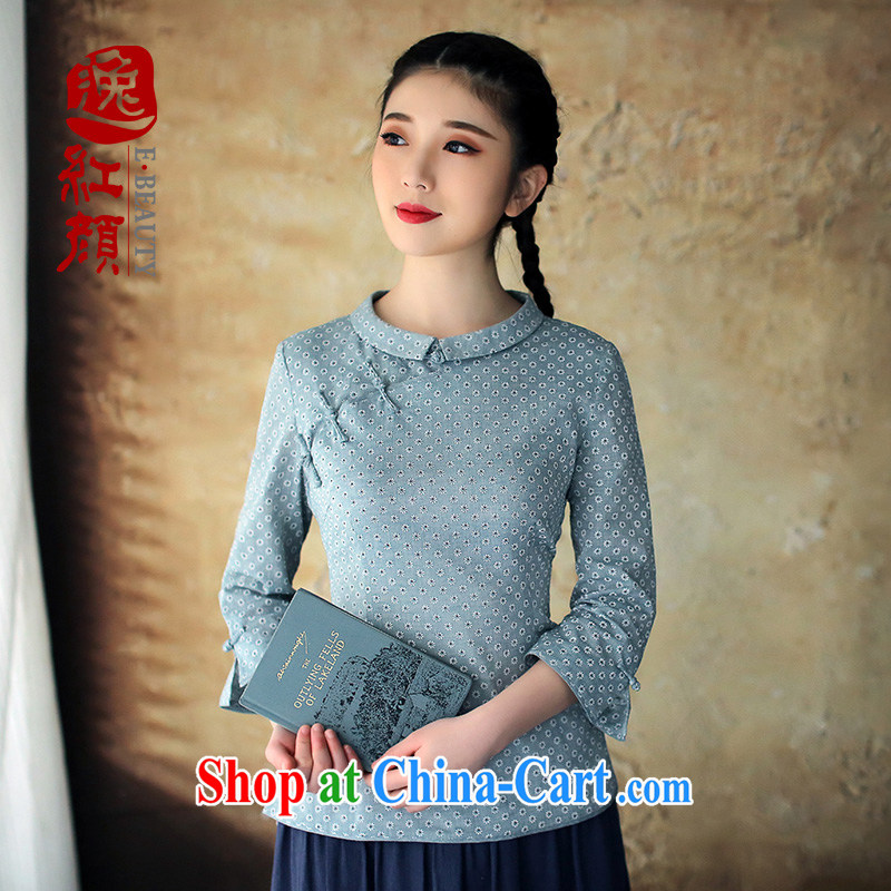 The proverbial hero once and for all soon as soon as possible reception spring 2015 summer Chinese qipao, T-shirt pure cotton beauty antique Chinese female blue 2 XL