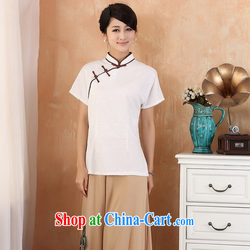 Allow Ms. Jing Tang Women's clothes summer T-shirt, cotton for the beauty Chinese Han-female improved Chinese short-sleeved 2378 - 2 white 4XL (recommendations 155 - 165 jack)