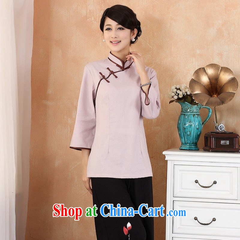 Allow Ms. Jing Tang Women's clothes summer T-shirt, cotton for the Chinese Han-female improved Tang in cuff - 3 purple XL _recommendations 120 - 130 jack_