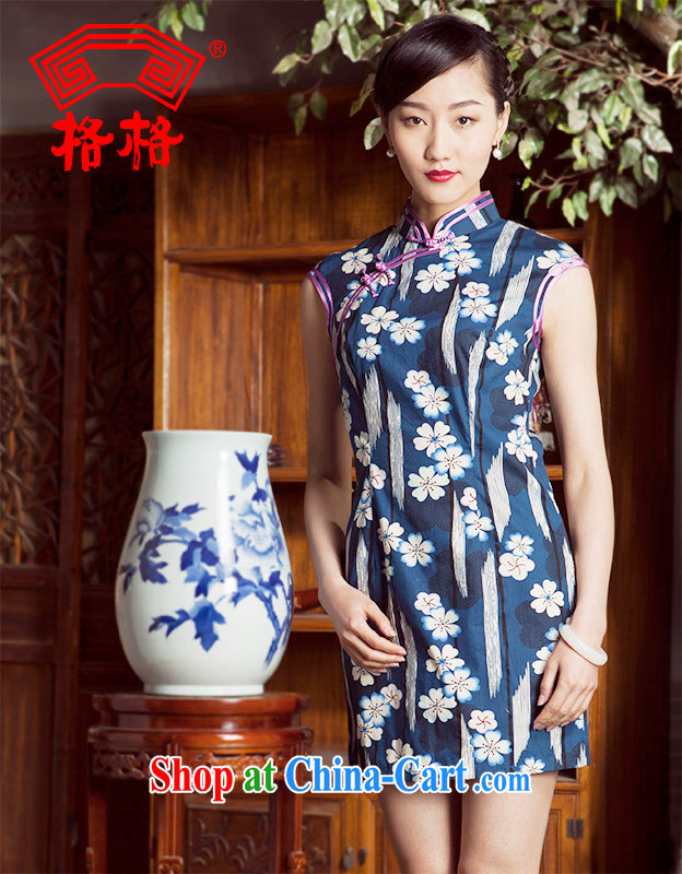 Huan Zhu Ge Ge 2014 spring and summer new flowers, bilateral, the pure cotton short cheongsam dress girls blue 3 XL