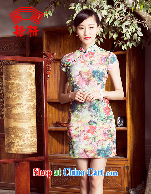 Princess spring and summer New New Chinese improved stylish short cheongsam dress girl light green XL