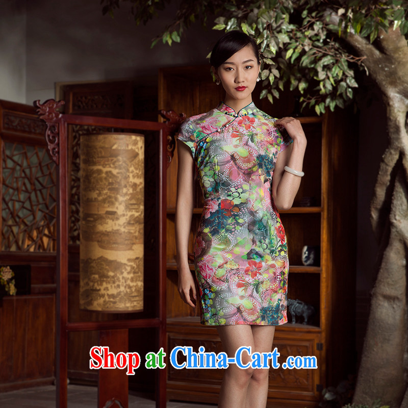 Princess spring and summer New New Chinese improved stylish short cheongsam dress girl light green XL, giggling, and shopping on the Internet