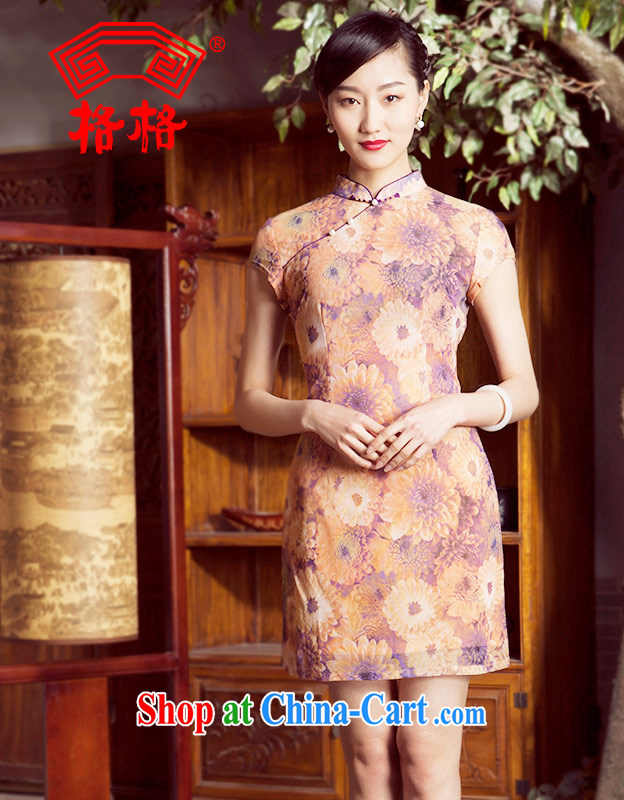 Princess spring and summer New New Chinese improved stylish short cheongsam dress female meat color 3XL