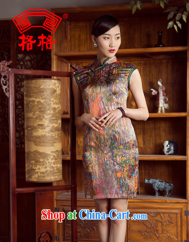 Princess spring and summer new sauna silk painting color paintings short cheongsam color 5 XL