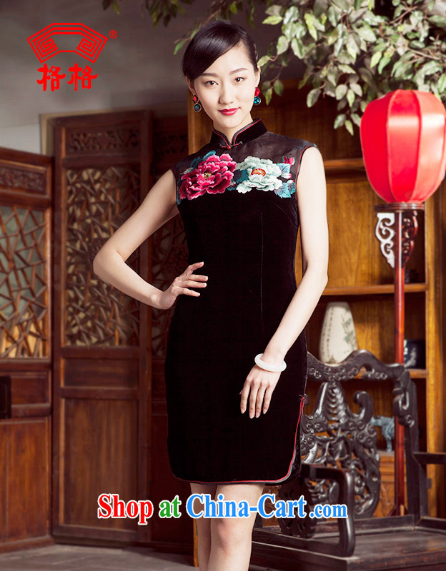 Princess spring and summer new upscale embroidered Peony sauna Silk Velvet short cheongsam black 4XL