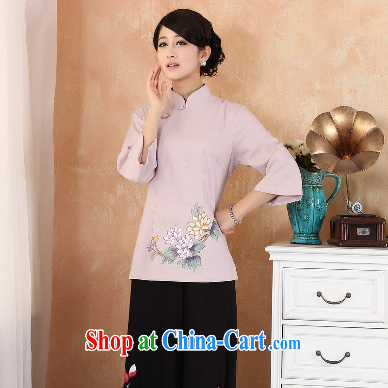 Allow Ms. Jing Tang Women's clothes summer T-shirt, cotton for the hand-painted Chinese Han-female improved Chinese cuff in 2380 - 3 purple 3 XL _150 - 160 _ jack