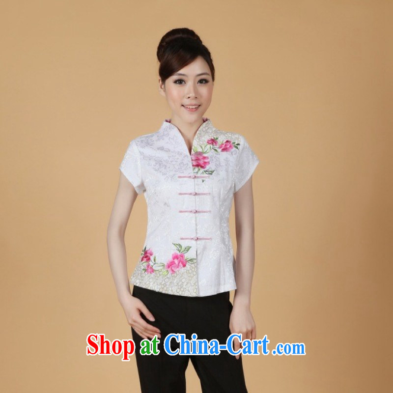 Allow Ms. Jing Tang Women's clothes summer T-shirt, collar embroidered Chinese Han-female improved Chinese short-sleeved 2338 - 1 white 3XL (recommendations 150 - 160 jack)