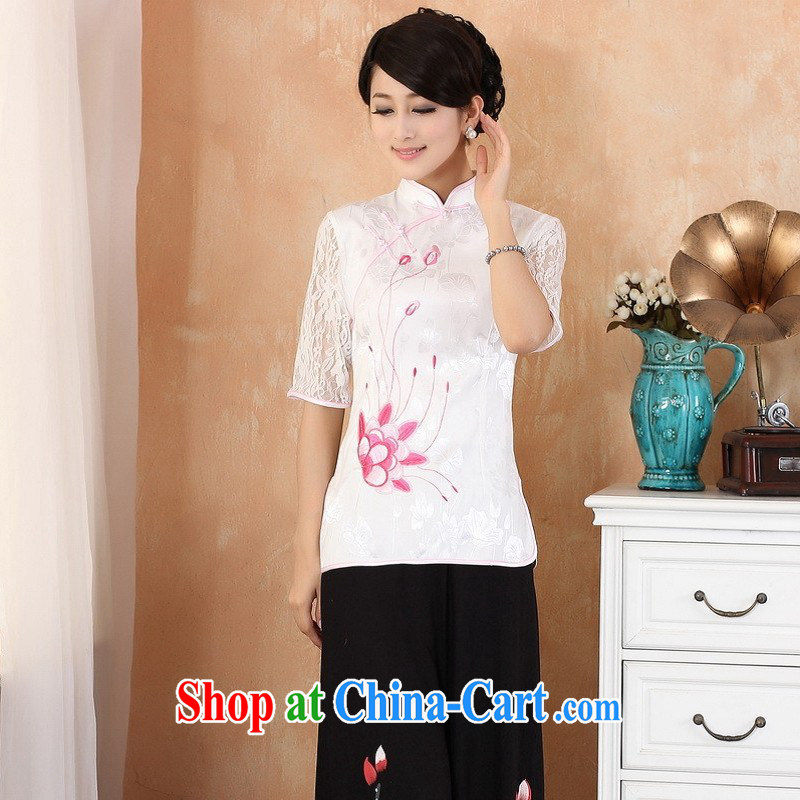 Allow Ms. Jing Tang Women's clothes summer T-shirt pure cotton, embroidery for Chinese Han-female improved Tang replace cuff in 2339 - 2 white 3XL _150 - 160 _ jack