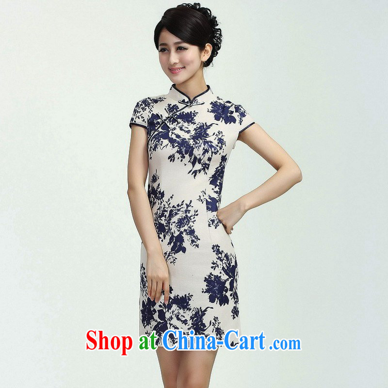 Jing An outfit summer improved retro dresses, cotton for the hand-painted Chinese improved cheongsam dress short 2368 - 3 with the Shannon M _100 - 110 _ jack