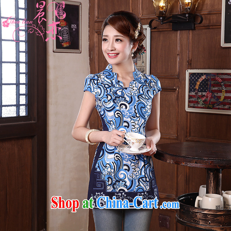 Morning dresses, new summer retro short improved stylish Chinese qipao shirt short-sleeved blue and white porcelain 560,102 blue XXL