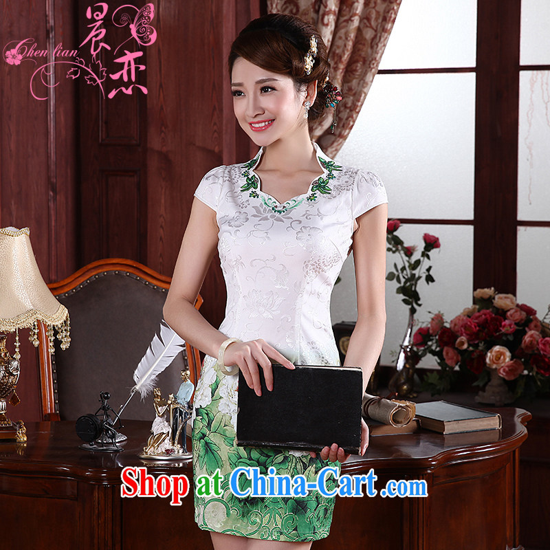 Morning, 2015 new summer fashion improved retro short cheongsam dress with short daily HD, 564,114 green L