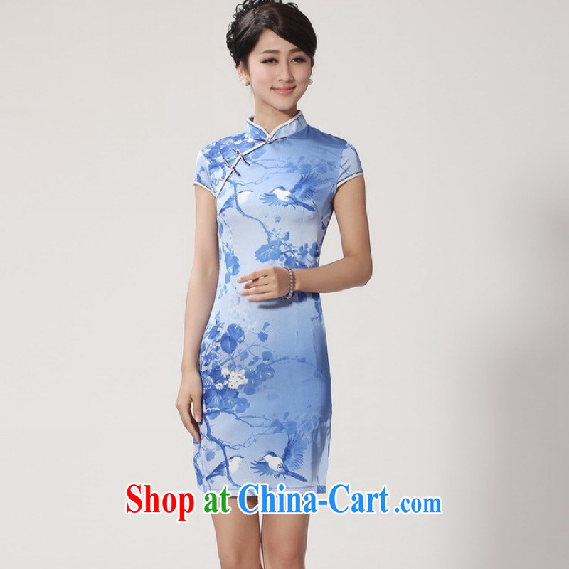 Jing An outfit summer improved retro dresses, for hand-painted Chinese improved cheongsam dress short 2366 - 4 sky blue 2 XL (recommendations 120 - 130 jack)