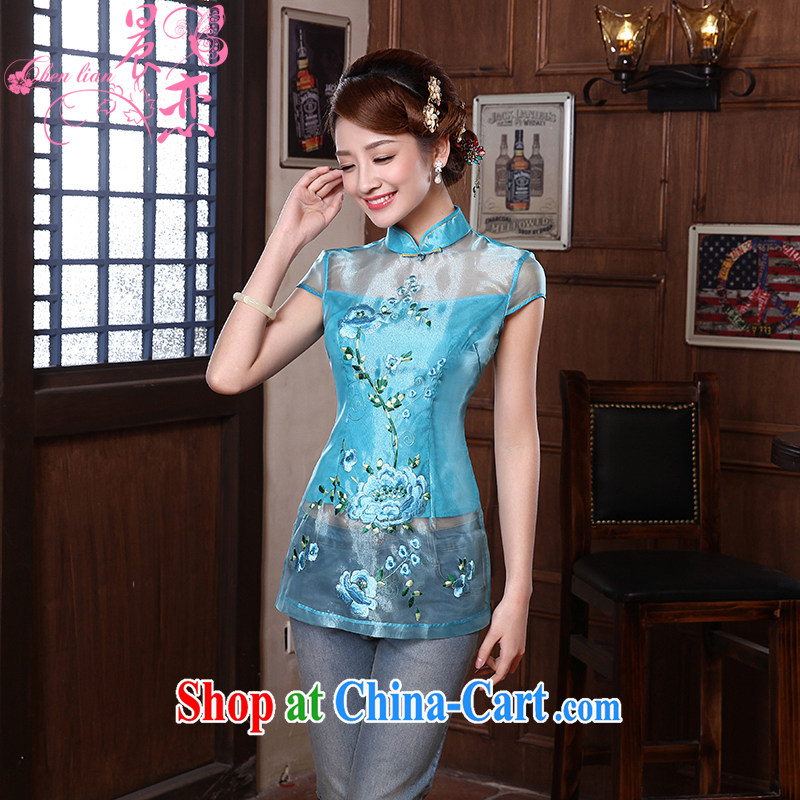 Morning dresses, new summer retro short improved stylish Chinese qipao shirt short-sleeved European root yarn two-color 3068 yellow XXXL