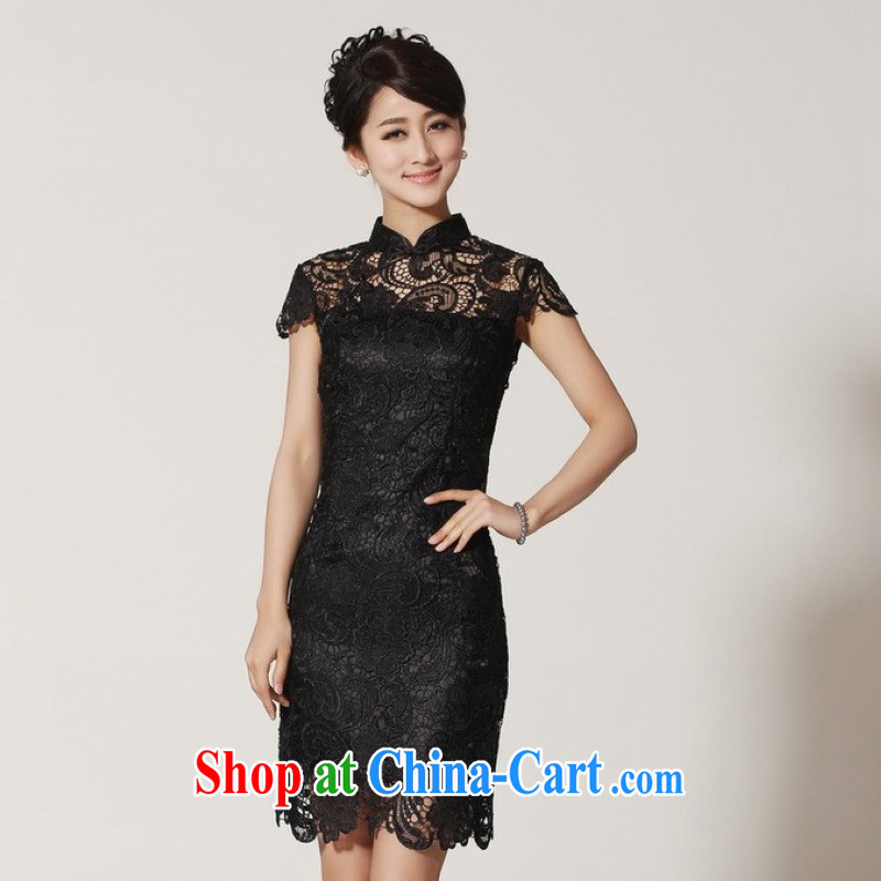 The Jing contributed new summer, short-sleeved lace Chinese improved cheongsam LF - 2 black 2 XL (recommendations 120 - 130 jack)