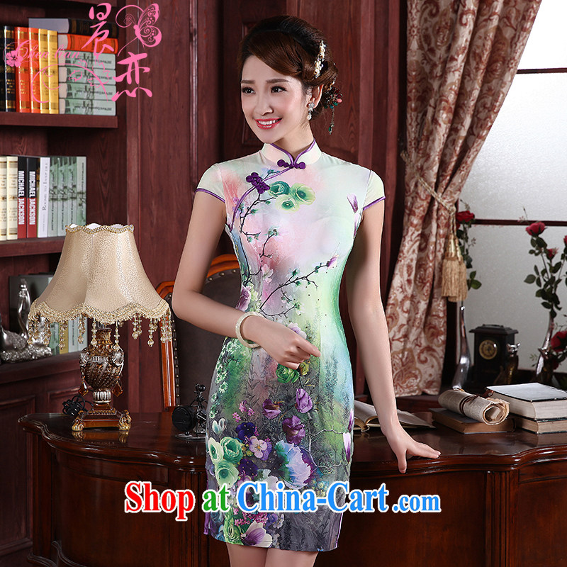 Morning dresses, new summer retro short improved stylish sauna silk silk Chinese qipao dress two-color 1358 pink XXL