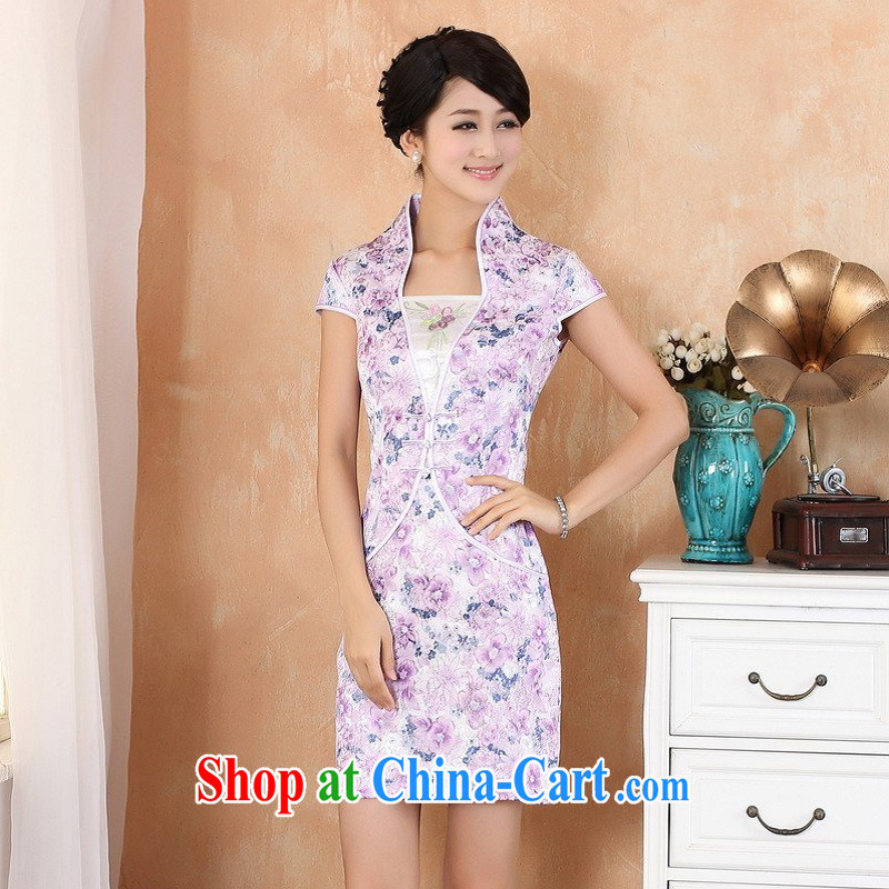 Building is building new summer women, short-sleeved stamp China wind improved cheongsam dress - 1 purple S