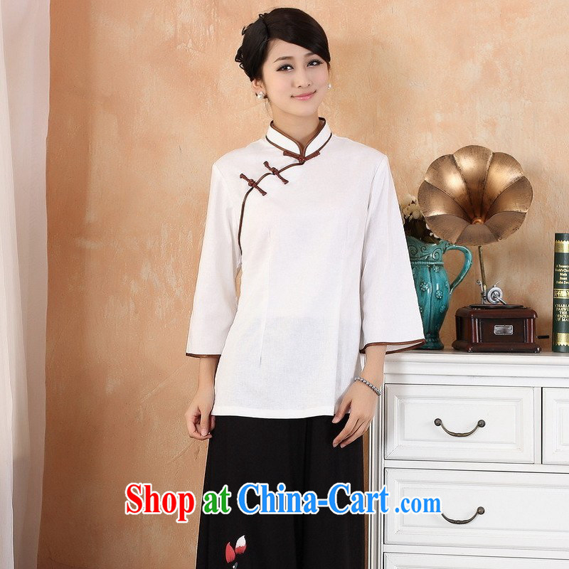 Nigeria, the 2014 new summer, for coin short-sleeved larger Chinese improved hand-painted robes - 2 white 3XL