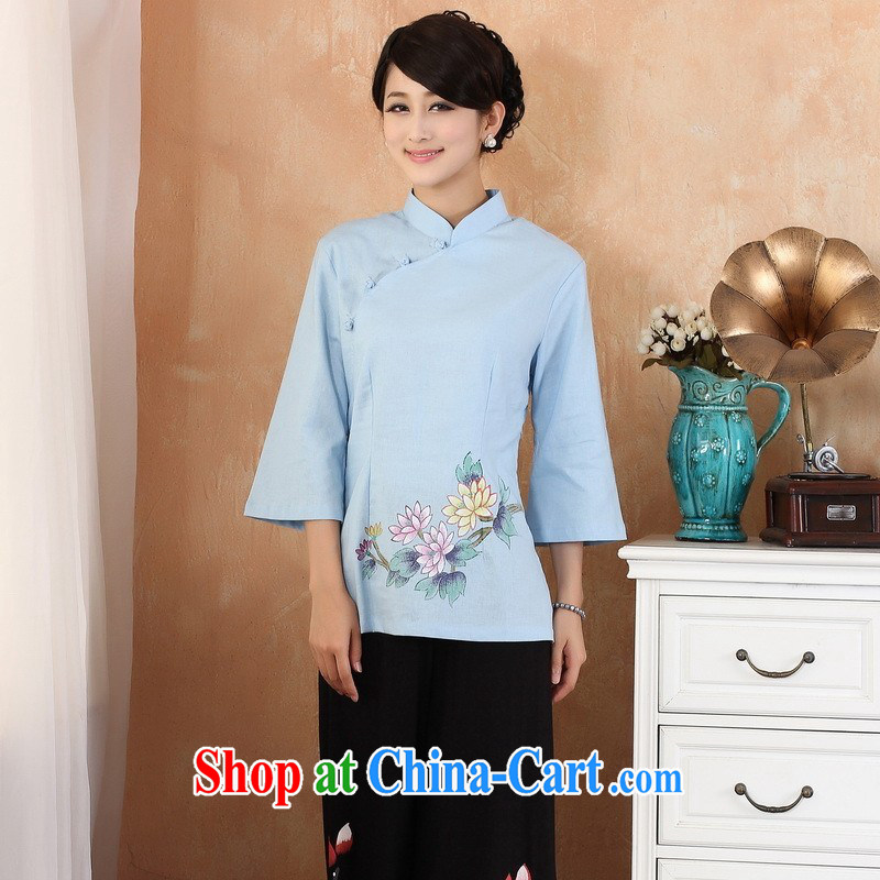 Nigeria, the 2014 new summer hand drawing the Case Code Chinese improved cotton the cheongsam - 1 blue S