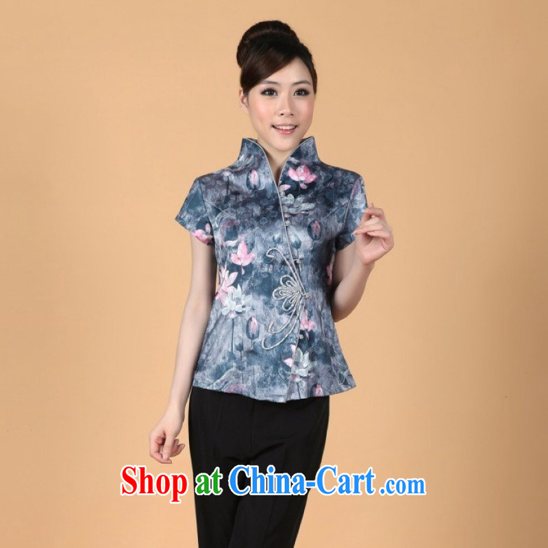 Floor is still building the new summer clothes, for coin short-sleeved stamp cheongsam girls - 1 gray M