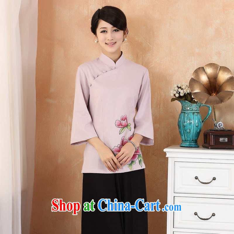 Building is building new, Ms. summer the code, for hand-painted improved cheongsam dress retro Tang women - 3 purple 2 XL