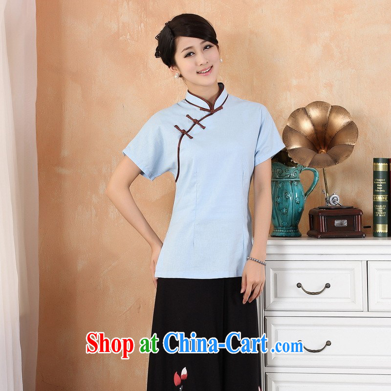 Floor is floor summer female new Chinese improved cheongsam, Chinese style Chinese T-shirt girls - 1 blue XL