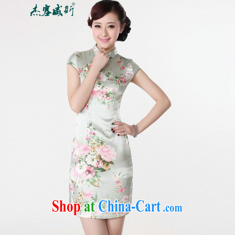 Jessup, 2015 New National wind Retro is a tight stamp Chinese cheongsam dress female LJ 5133 green XXL