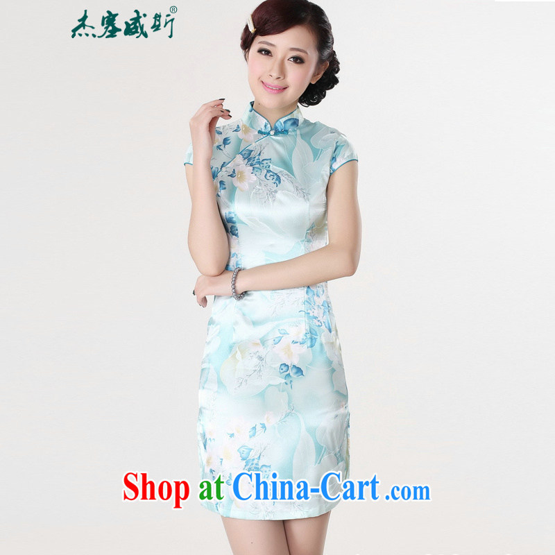 Jessup, new stylish and improved female is present stamp duty short-sleeve cheongsam dress female LJ 5132 light blue XL