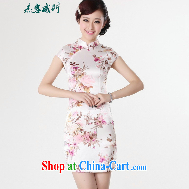 Jessup, new, improved the collar retro stamp short-sleeved qipao Chinese Dress girls LJ 5134 white L