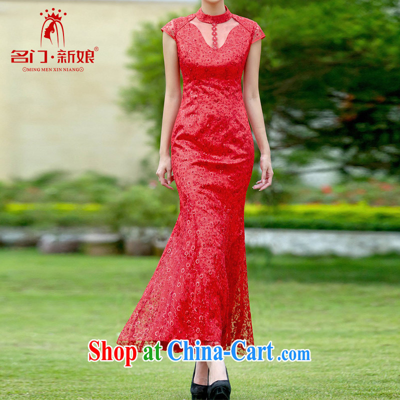 The bride's wedding dresses 2015 new dresses stylish improved cheongsam lace long qipao 343 L