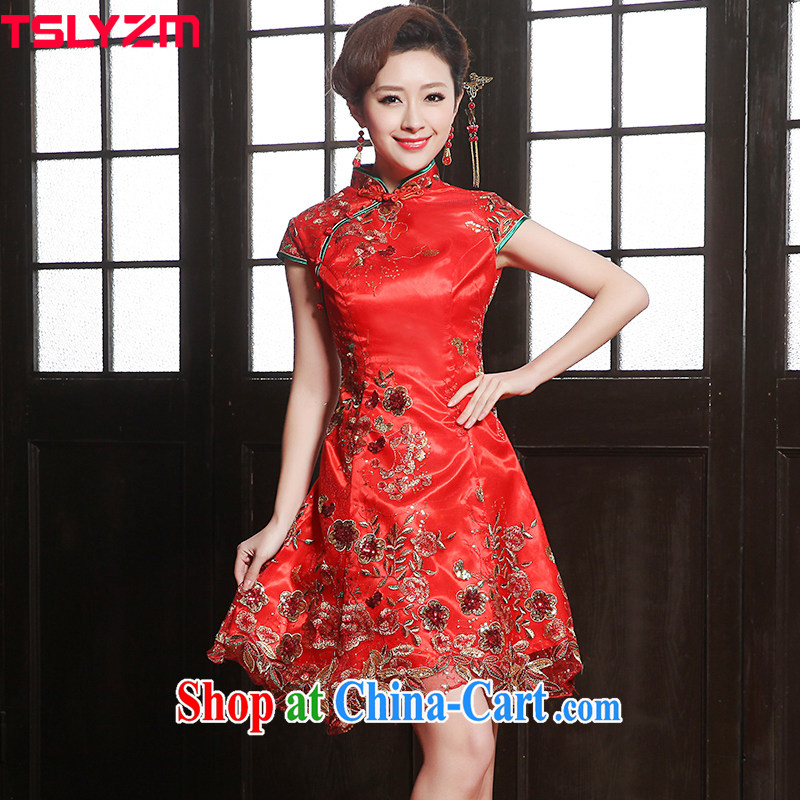 The angels, according to 2015 new summer Chinese qipao dress red short embroidery antique bridal with improved wedding dress the code toast serving red female Red XXL