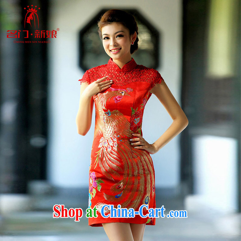 2015 new dresses lace Phoenix cheongsam short bag shoulder cheongsam Stylish retro dresses 109 L
