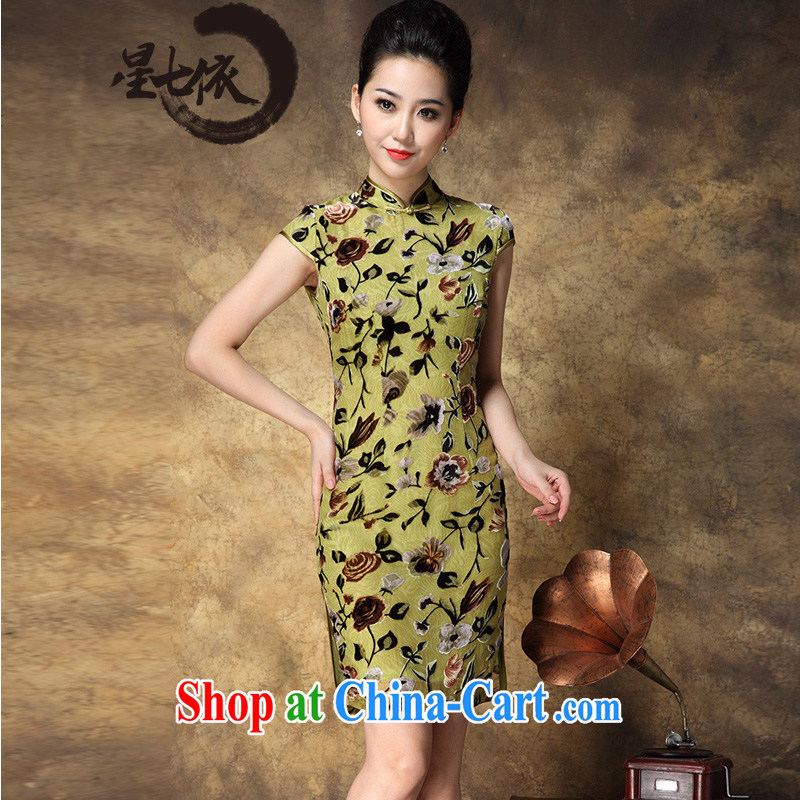 _ 7 according to 2014 summer new mulberry silk high-end expensive beauty women cheongsam dress picture color 3XL