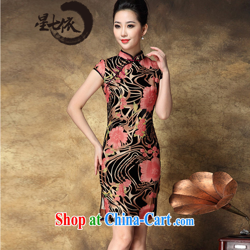 7 star hotel in accordance with 2014 summer new mulberry silk, velvet upscale distinguished women cultivating cheongsam dress picture color 3XL