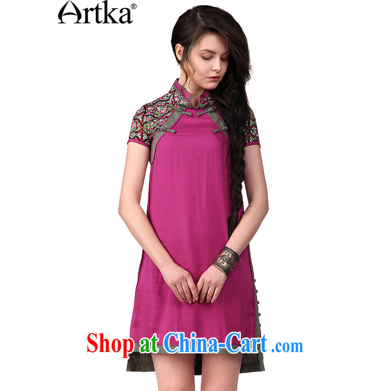 Artka the full Chamber, national stamp 2014 summer new female dresses, dresses LA C 10,042 of deep red S