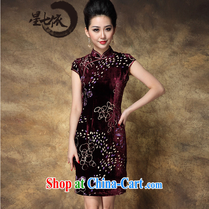 _ 7 to 2014 summer new female gold velour short improved retro the forklift truck burned flower cheongsam stamp beauty dresses picture color 3XL