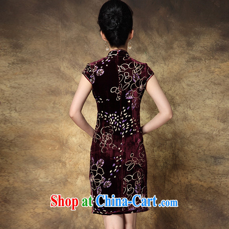 * 7 according to 2014 summer new female gold velour short improved retro the forklift truck burned flower cheongsam stamp beauty dresses picture color 3XL, star 7 (XINGQIYI), on-line shopping