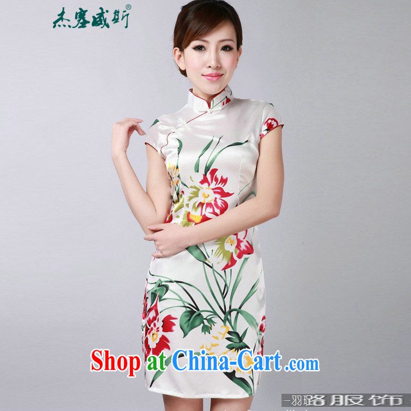Jessup, new, improved, for summer beauty stamp duty short-sleeved dresses cheongsam Chinese TD 0181 white XXL