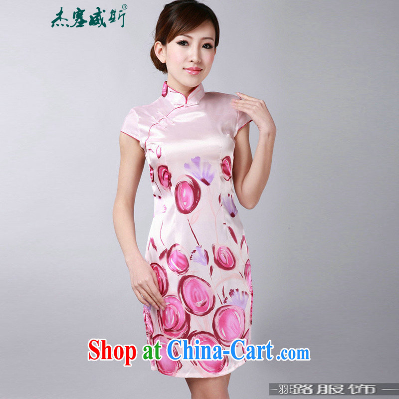 Jessup, new retro improved, for manual for summer short-sleeve dresses cheongsam Chinese TD 0182 _pink XXL
