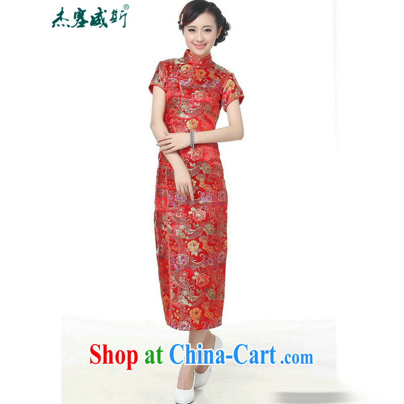 Jessup, new, improved, for manually 10 tablets for short-sleeved long dress long cheongsam Chinese TC 0001 _red XXXL