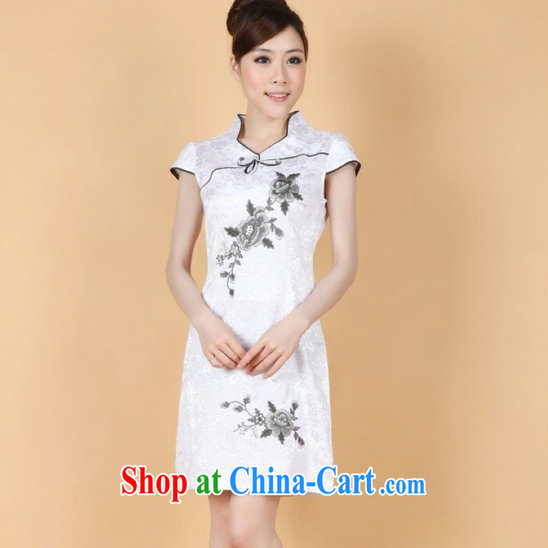The Jing contributed new summer, short-sleeved hand-painted Chinese wind improvements in long cheongsam Chinese performances clothing - 1 white XL (115 - 120 ) jack